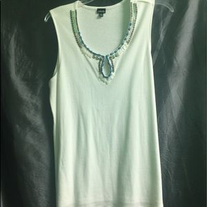 White embellished sleeveless top. Never worn.